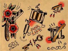 Razor and Tattoo Machine Flash Sheet