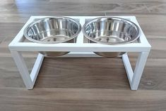 Wood Raised Dog Feeder, Double Dog Feeder, Dog feeding station, Pet Feeder made of spruce wood with two elevated stainless steel food bowls Dog Food Bowl Stand, Dog Food Bowls, Raised Dog Feeder, Dog Feeding Station, Pet Feeder, Dog Food Recipes, Stainless Steel, Pets, Dog Stuff