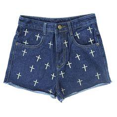 NAVY CROSS PATTERN DENIM SHORTS (135 RON) ❤ liked on Polyvore featuring shorts, bottoms, pants, denim short shorts, denim shorts, navy shorts, jean shorts and print shorts