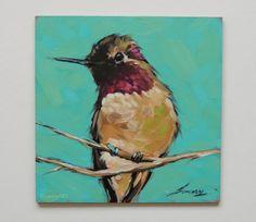 Huile originale oiseau peinture colibris 5 x 5 pouces par LaveryART