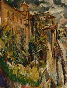 David Bomberg (English, 1890-1957), The Garden and Tower of the Sacristy, Cuenca Cathedral, 1934. Oil on canvas,76.7 x...