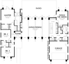 See the Harris Modern Prairie Home that has 3 bedrooms, 2 full baths and 1 half . - See the Harris Modern Prairie Home that has 3 bedrooms, 2 full baths and 1 half bath from House Pla - House Plans One Story, House Plans And More, Ranch House Plans, Best House Plans, House Floor Plans, Modern Floor Plans, Contemporary House Plans, Modern House Plans, U Shaped House Plans
