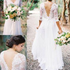 Boho vestidos de encaje de la boda V-cuello 3/4 manga larga vestidos de novia vestido de encaje de espalda una línea de vestidos de boda de novia Vestido de novia