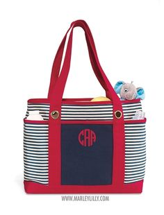 Monogrammed Medium Red with Navy Stripes Boat Tote