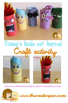 Disney& inside out inspired craft — the creative pair. Disney Classroom, Classroom Themes, Preschool Classroom, Crafts For Kids To Make, Fun Crafts, Inside Out Party Ideas, Inside Out Emotions, Disney Inside Out, Paper Toy