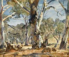 """""""Sheep in Wooded Landscape"""" by Sir Hans Heysen Watercolor Landscape, Landscape Art, Landscape Paintings, Watercolor Art, Landscapes, Tree Paintings, Pastel Paintings, Australian Painting, Australian Artists"""