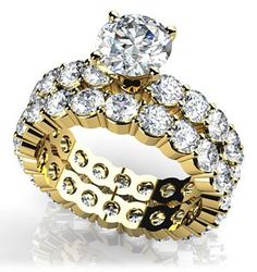 18k Yellow, Shared Prong Eternity Style Matching Bridal Set, 4.8-5.55 ct. (Color: GH, Clarity: VS)