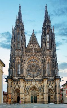 Photo about Front view of the main entrance to the St. Vitus cathedral in Prague Castle in Prague, Czech Republic. Image of capital, castle, prague - 42911713 Sacred Architecture, Cathedral Architecture, Religious Architecture, Beautiful Architecture, Prague Cathedral, Gothic Cathedral, Prague Castle, Cathedral Church, Gothic Buildings