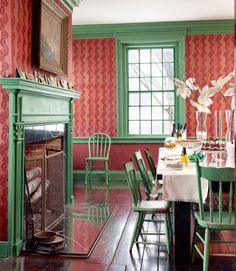 In Beekman mansion in upstate New York, now owned by Brent Ridge and Josh Kilmer-Purcell, a mismatched assortment of antiques-shop chairs surrounds a red-oak dining table Ridge built himself. Green Dining Room, Dining Room Paint Colors, Green Rooms, Dining Room Design, Green Walls, Kitchen Colors, Woven Dining Chairs, Mismatched Dining Chairs, Dining Table Chairs