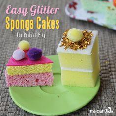 Easy Glitter Sponge Cakes for Pretend Play