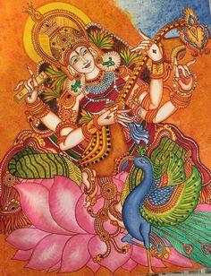3d Art Drawing, Painting & Drawing, Art Drawings, Kerala Mural Painting, Madhubani Painting, Peacock Painting, Fabric Painting, Royal Art, Indian Folk Art