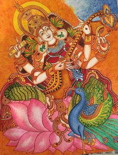 Kerala Mural Painting, Indian Art Paintings, Madhubani Painting, Peacock Painting, Fabric Painting, 3d Art Drawing, Painting & Drawing, Outline Drawings, Art Drawings