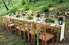 rubans chaises et lanternes tables