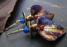Pagoda - wearable art polymer clay ruby sapphire gold leaf earrings. by PreciousViolet on Etsy