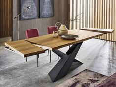 Living - graphite & oak By riflessi, rectangular wooden dining table, living Collection Luxury Dining Tables, Furniture Dining Table, Wooden Dining Tables, Dining Table Design, Oak Table, Dinning Table, Extendable Dining Table, Table And Chairs, Table Chaise