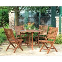 Beachcrest Home Roseland Brazilian Eucalyptus 5 Piece Dining Set Table Size: 4 Outdoor Dining Chairs, Outdoor Furniture Sets, Dining Table, Outdoor Decor, Patio Table, Backyard Patio, Indoor Outdoor, Outdoor Living, Fresco