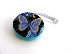 Measuring Tape with Blue Butterfly Fabric by AllAboutTheButtons