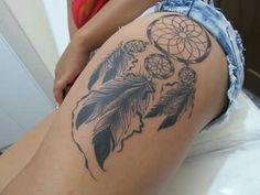 300 Sexy Tattoo Designs - Original by Tattooists Hip Thigh Tattoos, Thigh Tattoo Designs, Tattoo Designs For Women, Dreamcatcher Tattoo Thigh, Mini Tattoos, Body Art Tattoos, Dream Catcher Tattoo Design, Sexy Tattoos For Women, Simplistic Tattoos