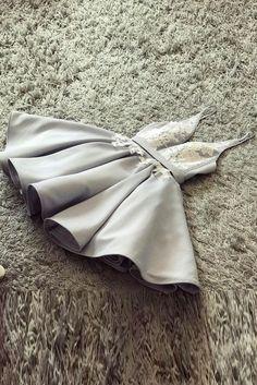 Gray v neck lace applique short prom dress, cute homecoming dress