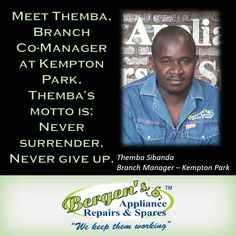 Meet Themba Sibanda at our Kempton Park Branch Manager.  #wekeepthemworking #bergensappliances #appliancerepairs #dishwashers #stoves #washingmachines #tumbledriers #wefixappliances #bergenskemptonpark  Follow us on Instagram and Pinterest Contact:  082 311 8095 Email:   kemptonpark@bergens.co.za