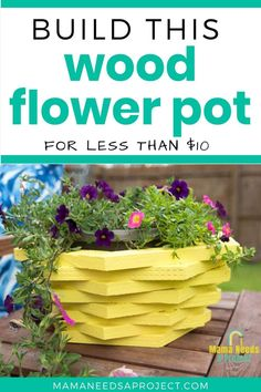 Stacked Hexagon Wood Flower Pot woodworking tutorial will take you through steps to build hexagons and turn them into a beautiful wooden planter Garden Yard Ideas, Garden Crafts, Garden Projects, Garden Decorations, Garden Art, Wood Shop Projects, Diy Projects, Plastic Flower Pots, Wooden Flowers