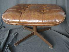 Vintage Eames Era Style Brown Ottoman Danish Modern