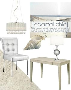 Coastal chic decor embraces the relaxed elements of coastal living and infuses them with an upscale flair. Sandy beach hues and cool aqua tones are given a sophisticated modern edge with the addition of sleek chrome finishes and rich textures like organza, crystal, and faux shagreen.