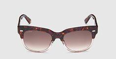 havana acetate square-frame sunglasses
