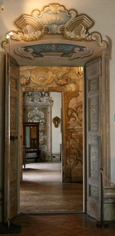 enfilade at Villa Dalla Porta Bozzolo - Casalzuigno Tuscan Design, Tuscan Style, Living In Italy, Italian Villa, Le Palais, Baroque, Rococo, Old World, Interior And Exterior