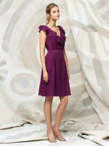 Fashion Purple Cocktail Length Ruffle V-neck Sleeveless A-line Bridesmaid  Dress with Band f21fabf09356