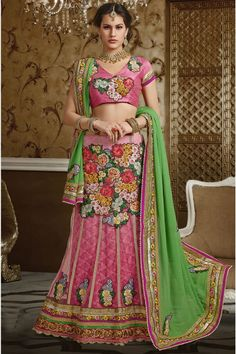 wedding bridal pink saree