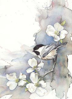 Chickadee on Dogwood by Anne Balogh #Art #Artwork #Flowers: