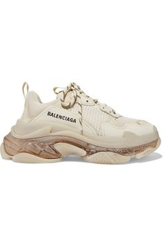 Balenciaga - Triple S Clear Sole Logo-embroidered Leather, Nubuck And Mesh Sneakers - Cream White Balenciaga Sneakers, Balenciaga T Shirt, Balenciaga Shoes, Cute Suitcases, Baskets, Hype Shoes, Rubber Shoes, Chunky Sneakers, Shoe Game
