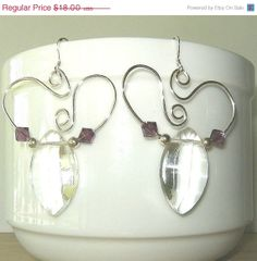 ON SALE Swarovski Crystal Amethyst Earrings