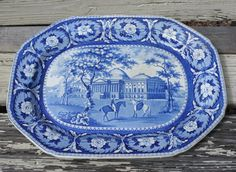 """Antique Blue Staffordshire Large Platter 21"""" X 15.5"""" ..... Awwwwesome!!!!!!"""