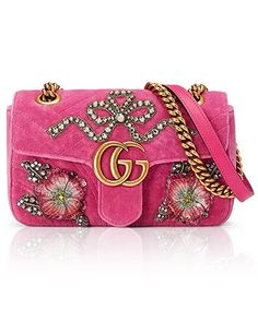 Gucci Mini Gg Marmont Matelasse Velvet Shoulder Bag - Purple In Raspberry Gucci Shoulder Bag, Chain Shoulder Bag, Shoulder Handbags, Gucci Purses, Gucci Handbags, Gucci Bags, Purses And Handbags, Mini Handbags, Shoes