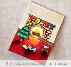 Colored using faber castell classic pencils. the fireplace and stool/table is hand drawn. *VIBGYOR Krafts*: Lia Stampz : Blog Hop