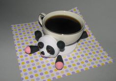 Quilling art. Cute panda  stand for the cup by QuillingLife