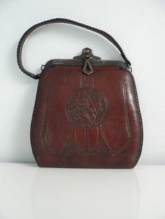 Art Nouveau brown leather floral purse   vintage 1900s purse   antique  Jemco purse Tooled Leather 343f21e7d2