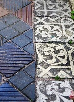 Old tiles used for paving