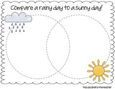 compare things to do on a rainy day and a sunny day - write comparison paragraph     A Cupcake for the Teacher: freebie