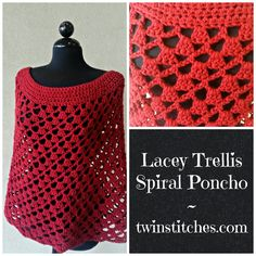 Tw-In Stitches: Lacey Trellis Poncho - Spiral Version - Free Pattern | Tw-In Stitches