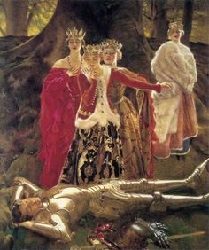>Four Queens Find Lancelot Sleeping, Frank Cadogan Cowper,Pre Raphaelite art Medieval Art, Medieval Fantasy, Renaissance Art, King Arthur Legend, Legend Of King, Morgan Le Fay, Pre Raphaelite Paintings, John Everett Millais, Roi Arthur