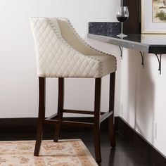 Filton Ivory Quilted Leather Bar Stool