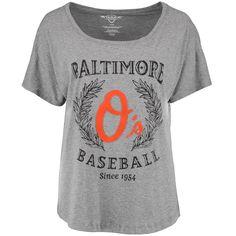 MLB Baltimore Orioles Women's Team Logo Tri-Blend Boyfriend T-Shirt - Heather Gray