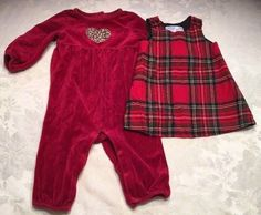 85130101b7a LOT Gymboree Baby Girl Size 6-12 M Christmas Dress Romper Holiday Red Plaid