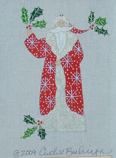 CURTIS BOEHRINGER HAND PAINTED NEEDLEPOINT CANVAS THE RED SNOWFLAKE SANTA