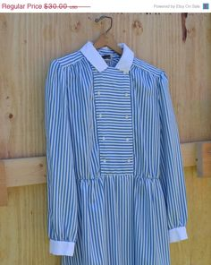 ON SALE Vintage Dress Blue and White Striped by founditinatlanta, $27.00