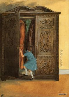 The Lion the Witch and the Wardrobe Lucy Entering the Wardrobe to Narnia Book Illustration Pauline Baynes