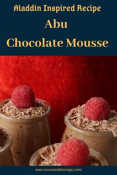 To celebrate the release of the new Aladdin live action movie. We are making Abu Chocolate Mousse cups. Find out how these Abu inspired chocolate mousse cups turned out and where you can find the recipe. Disney Themed Food, Disney Inspired Food, Disney Food, Small Desserts, Easy Desserts, Delicious Desserts, Chocolate Mousse Cups, Chocolate Shavings, Food Themes